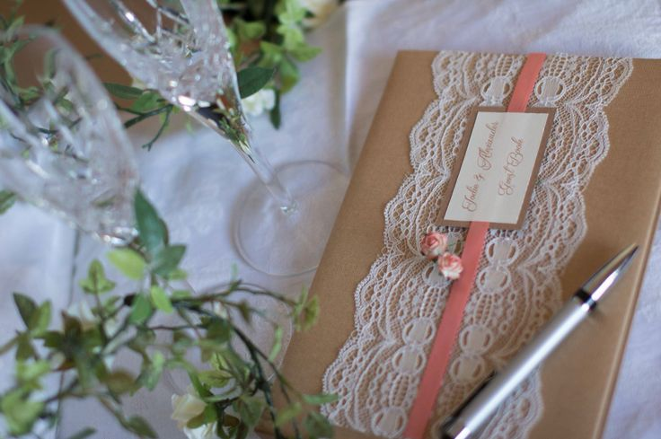 Rustic coral wedding guest book