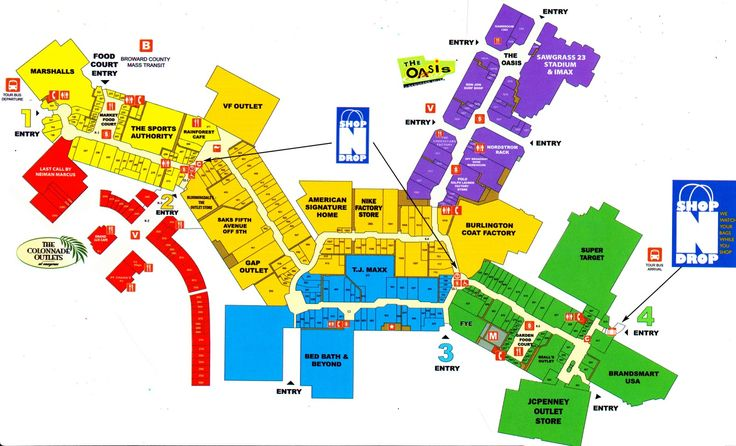 Map of Sawgrass Mills Mall map Pinterest