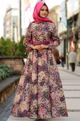 Nurgül Çakır Desenli Begonya Tesettür Elbise