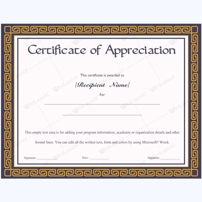 26 best Certificate of Appreciation Templates images on Pinterest - certificate template for microsoft word
