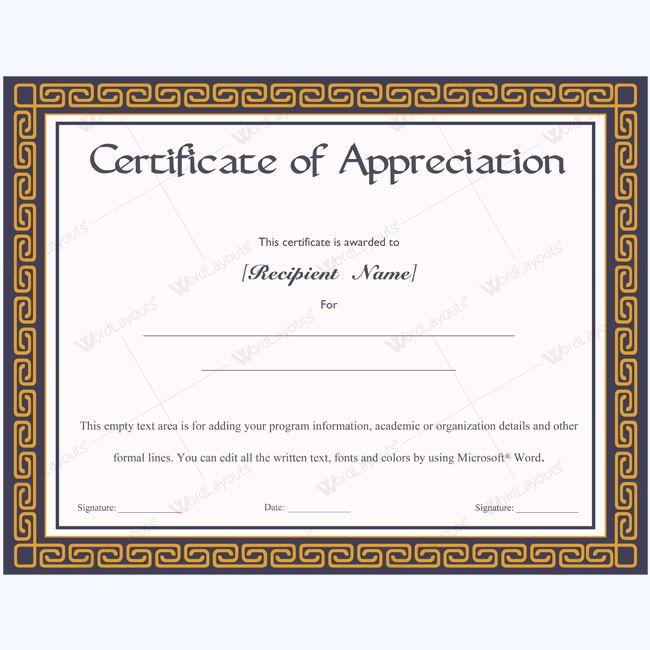 De 26 bästa Certificate of Appreciation Templates-bilderna på - sample certificate of appreciation