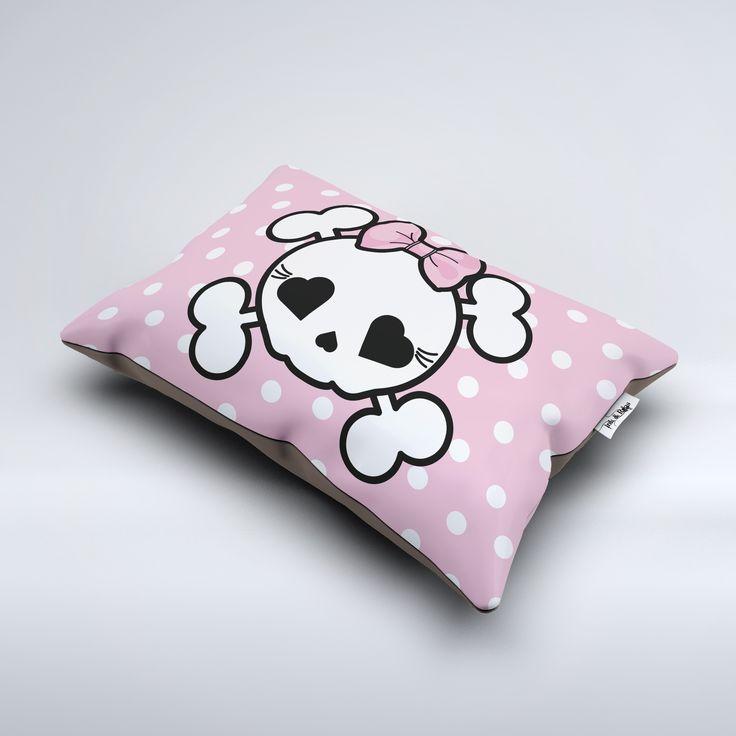 Pink Polka Dot Candy Skull Dog or Pet Bed