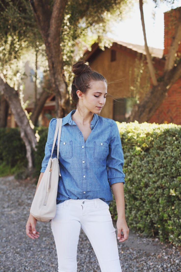 Chambray Shirt: Old Navy, White Jeans: Old Navy, Bag: Joie, Shoes: Shoemint