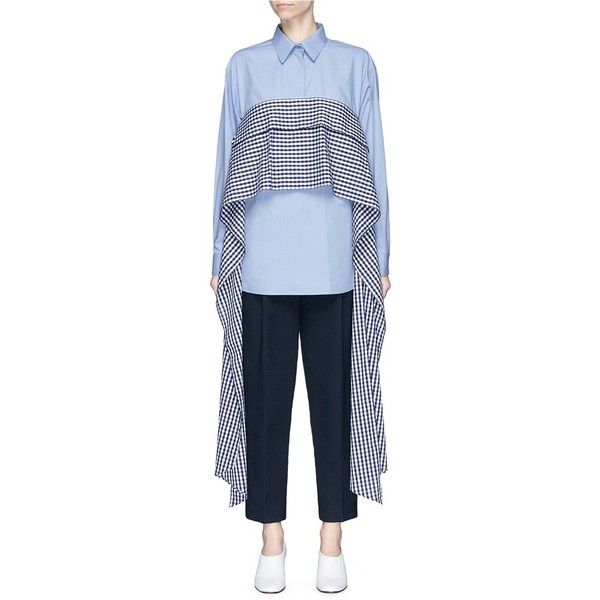 Cédric Charlier Gingham check sash cotton poplin shirt (8.061.065 IDR) ❤ liked on Polyvore featuring tops, blue, tie top, tie shirt, tie knot shirt, knotted shirt and oversized tops