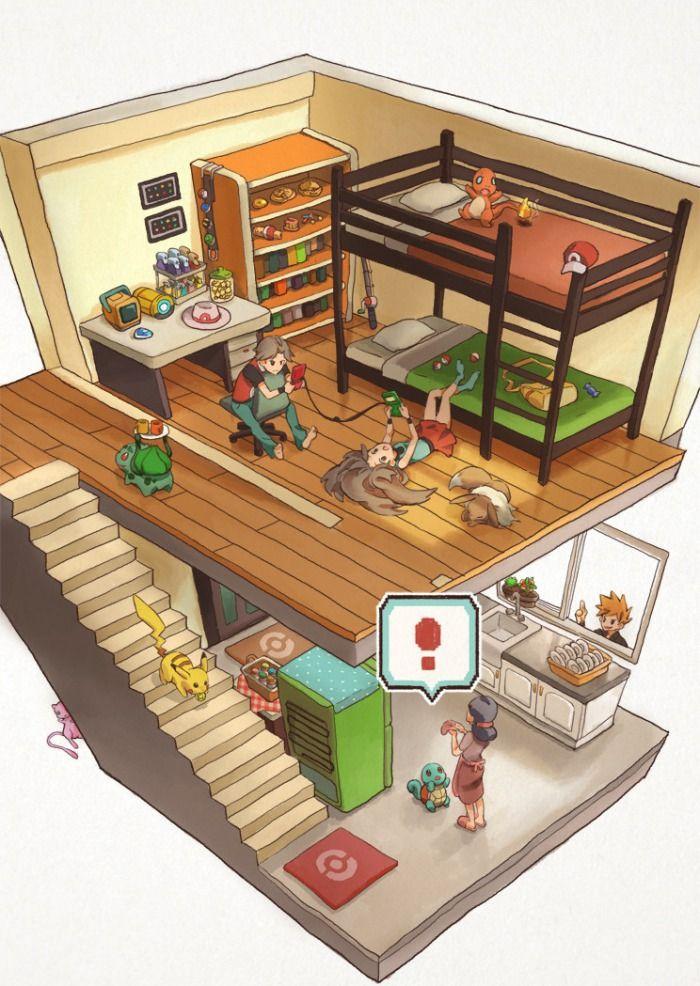 Pokemon household. Blue in the window...  (and Mew hiding under the stairs!!!)