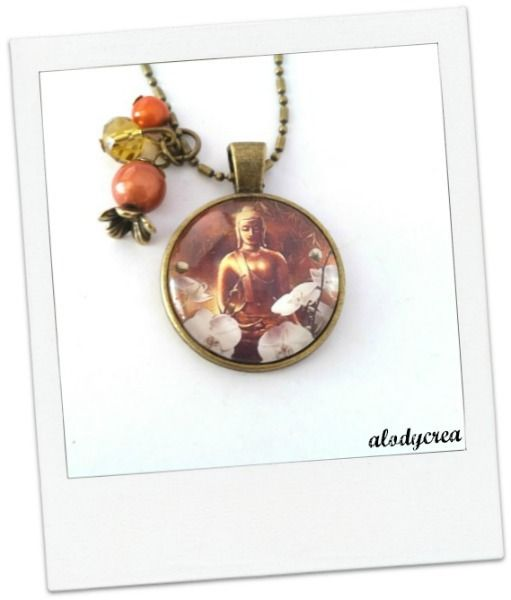 Collier sautoir Bouddha- zen - bronze - cabochon : Collier par alodycrea