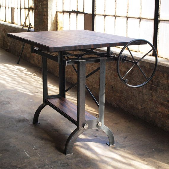 Large Walnut Industrial Drafting Table Desk By Marcus Comfort