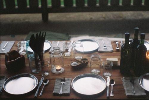 table settingJuly Pointer, Tables Sets, Rustic Dinner, Jars Candles, Kinfolk Dinner, Dinner Parties, Dining Parties, Mason Jars, Dinner Sets