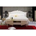 $2,383.00 VIG Furniture - Waterfall - Elegant Beige Leather Bed - VGSLE-WATERFALL-BEIGE