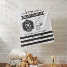 Birth Details Custom Blanket Black White Nursery