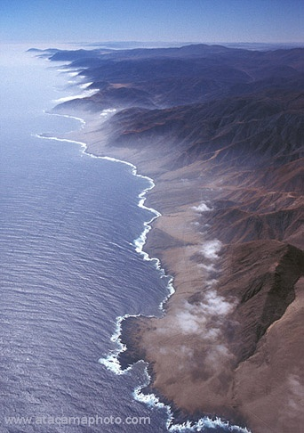 Aerial view of Atacama Desert coastline, Chile,South America