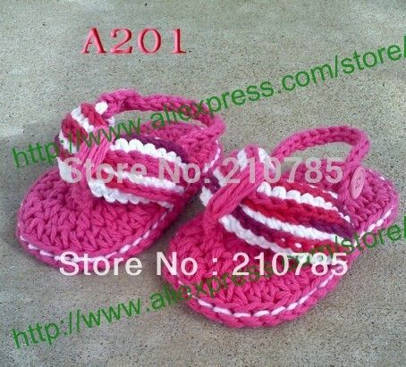 Crochet Baby Sandals, Baby girl Rose Red Flip Flops, Crochet Baby bootee-- Made to Order,500pair/lot Free Shipping #Affiliate