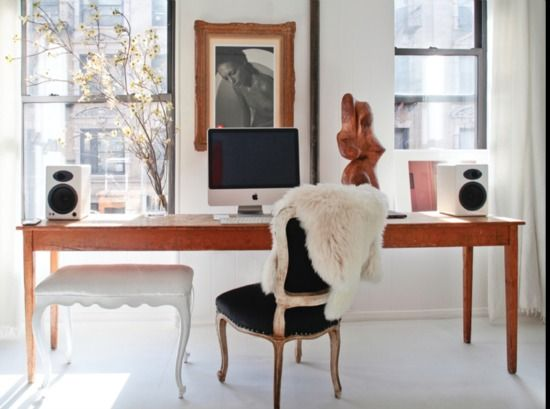 Apartment Crush: Olympia Bermann's NYC Flat-that is my farm table-pair white wingbacks on ends and Louis VXI whitewashed chairs/black leather on sides