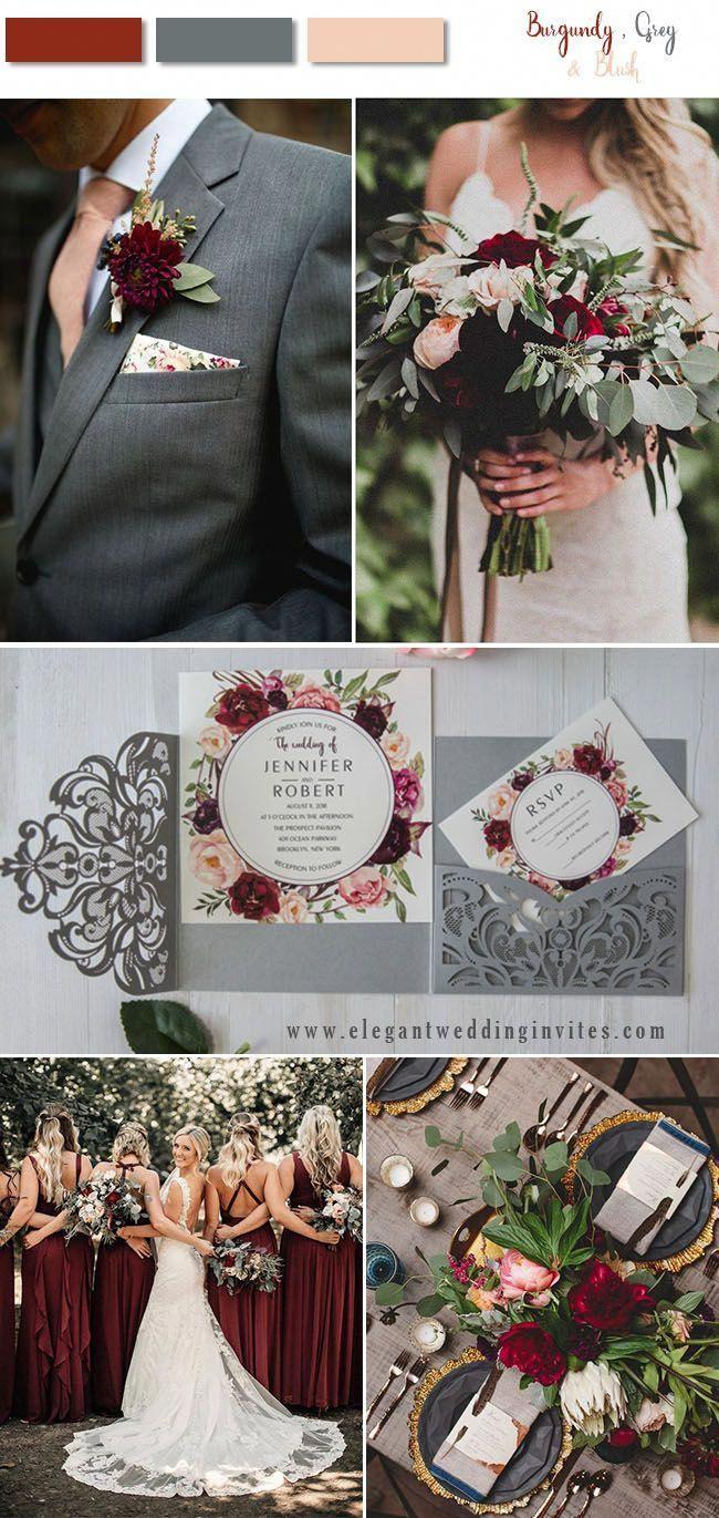 Burgundy Blush And Dark Grey Woodland Wedding Color Ideas Blush And Grey Wedding Burgundy Wedding Colors Burgundy And Blush Wedding