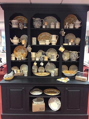 Emma Bridgewater Toast Marmalade...great way off showing off this range against dark dresser.