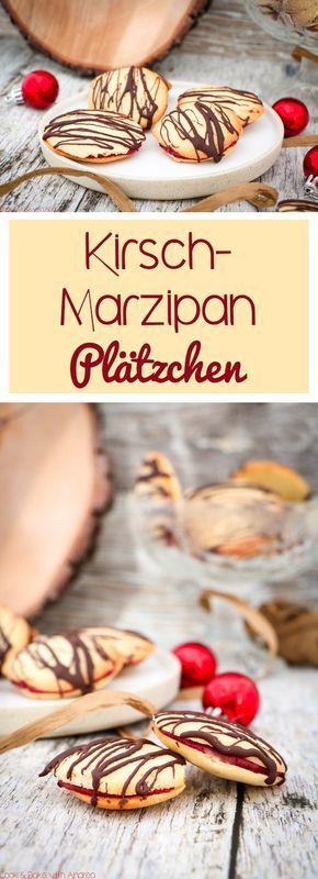 Hm ich liebe den Duft der Weihnachtsbäckerei! Deswegen beginne ich immer schon vor der Adventszeit mit den ersten Plätzchen, zum Beispiel mit diesen Kirsch-Marzipan-Plätzchen mit Schokolade. Das einfache Rezept gibt es auf dem Blog von Cook and Bake with Andrea.
