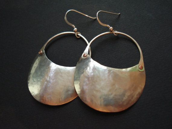 Handmade Silver Hoop Earrings Hammered Silver by AnnaRecycle