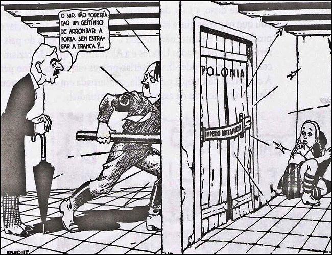 Charge criticando aposição apaziguadora do Primeiro-Ministro britânico, Neville Chamberlain, diante de Adolf Hitler. Era necessário um homem de ferro para combater a Alemanha Nazista. Imagem: Belmonte. Charges.