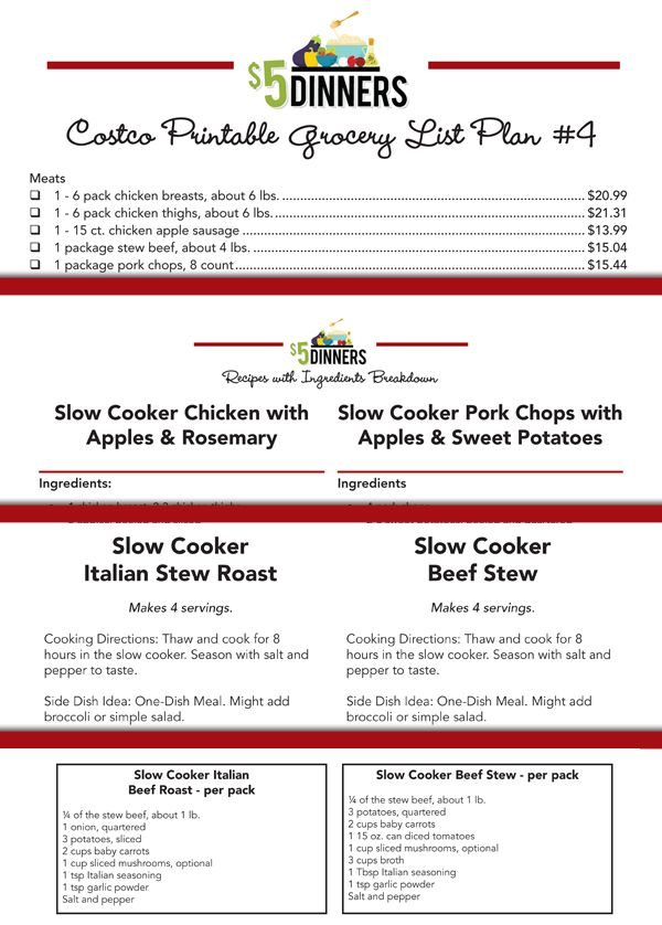 Costco Meal Plan Freezer Packs Printable Pack #1 | 5DollarDinners.com