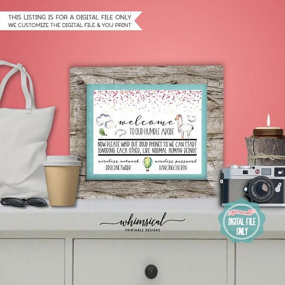 ** Please be sure to read ALL listing wording below **  WiFi Password Sign Llama (Printable File Only) Clouds, Southwest, Wireless Password, Home Network, Log In, Funny Sign, Home Decor Sign   Help out your guests with a home wifi network & password sign! With funny wording and