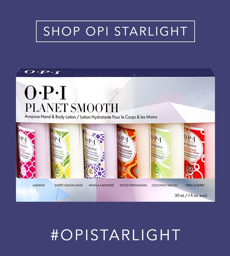 Shop the Gift: OPI Planet Smooth Avojuice Hand & Body Lotion // This set includes 6 juicy scents: Spiced Persimmon Jasmine Coconut Melon Cran&Berry Sweet Lemon Sage Vanilla Lavender