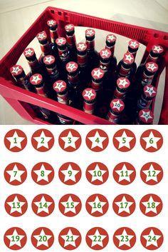 Freebie: 24 Zahlen für deinen DIY Bier Adventskalender für Männer - So einfach kann man einen Adventskalender für den Mann basteln // Free Printable von liebeschenken.net