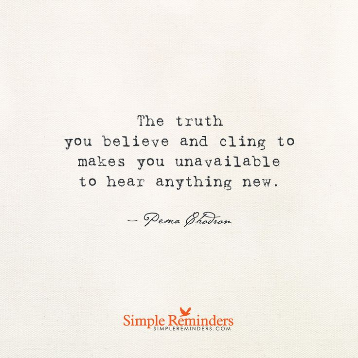 The truth you believe and cling to makes you unavailable to hear anything new. — Pema Chodron
