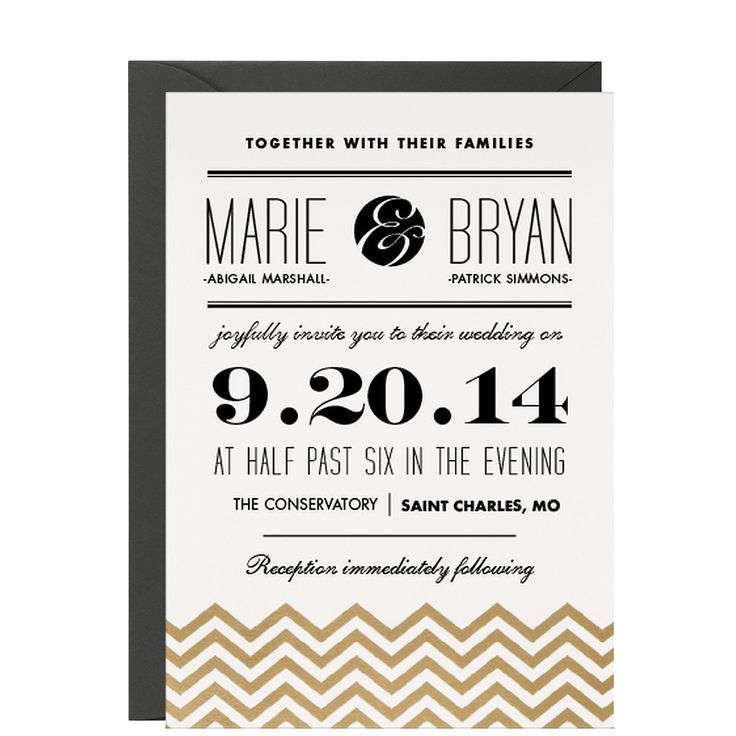 Gold Chevrons Wedding Invitation | Paper Source