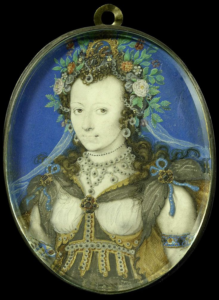Isaac Oliver   Portret van een vrouw in maskeradekleding als Flora, Isaac Oliver, 1575 - 1617   Portret van een vrouw in maskeradekleding als Flora. Ten halven lijve, naar links, met een hoofdtooi bestaande uit bloemen en planten. Onderdeel van de collectie portretminiaturen.