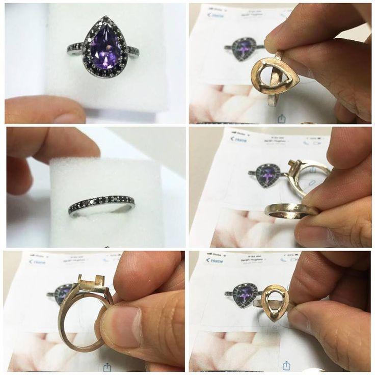 Some production photos of custom order pear cut amethyst, black diamond halo, oxidised black gold ring set.#custom#order#pear#cut#amethyst#black#diamond#halo#oxidized#oxidised#ring#set#production#photos#made#make#madetoorder#rings#present#gift#jewelry#jewlery#jewellery#jewelery#bespoke#oneofakind#