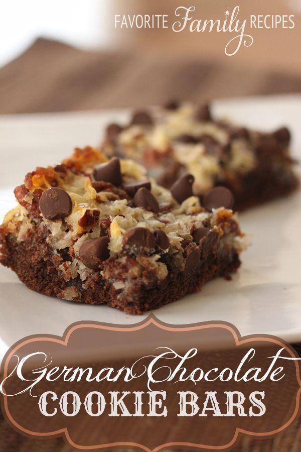 German Chocolate Cookie Bars