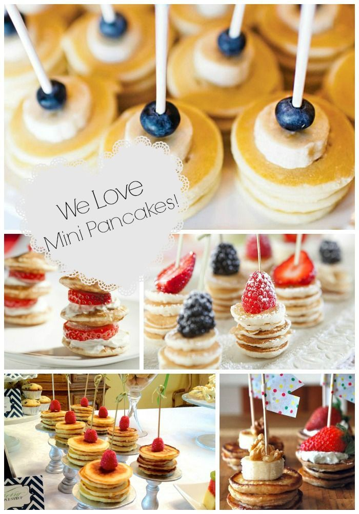 Mini Pancake Stacks {Brunch Foods That Rock}!  For baby shower you could tie a pink ribbon to the sticks.  easy peasy.