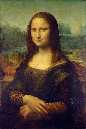 """""""La Gioconda, nota anche come Monna Lisa, è un dipinto a olio su tavola di pioppo (77x53 cm) di Leonardo da Vinci, databile al 1503-1514 circa, è conservata nel Museo del Louvre di Parigi.  Opera emblematica ed enigmatica, si tratta sicuramente del ritratto più celebre del Mondo, nonché di una delle Opere d'Arte più note, oggetto di infiniti omaggi, tributi, ma anche di parodie e sberleffi""""."""
