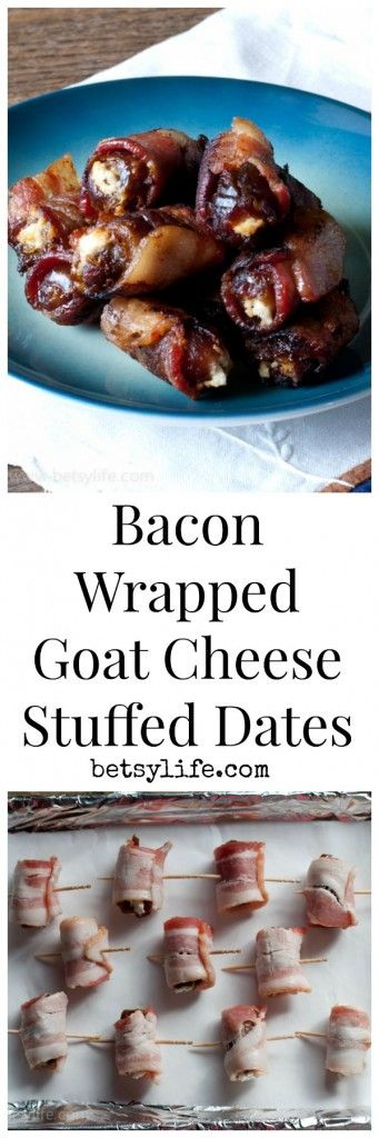 Bacon Wrapped Goat Cheese Stuffed Dates. A super simple appetizer recipe for any holiday party. | Betsylife.com