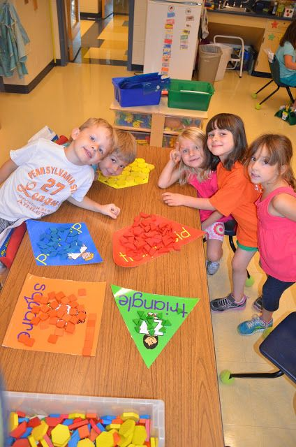 Sorting by Shapes Math Center ~ Great for the first week of school!  (Free idea.)