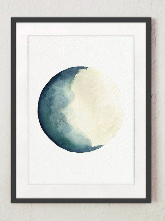 Half Moon Art Print Set 2 Canvas Watercolour Paintings Turquoise
