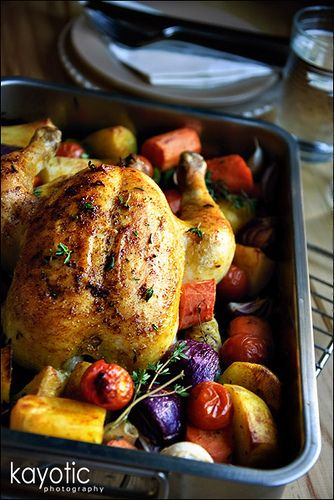 Roasted Chicken and Vegetables - perfect lazy fall day recipe.