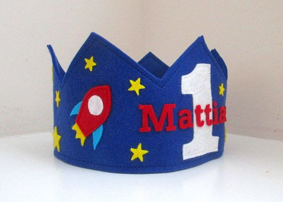 Space Birthday Crown, Rocket Crown, Wool Felt, First Birthday, Boy, Space Ship, Stars