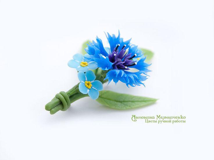 Brooch Cornflower & Forget-me-not Polymer от SaisonRomantique