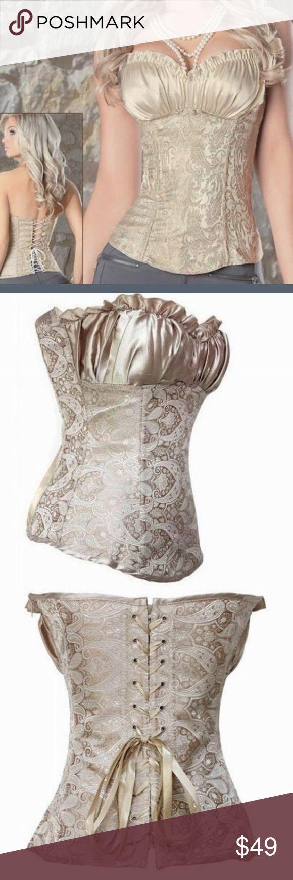 """Plus Size Sexy Corset ♨️ Plus size corset creamy ivory Renaissance Center leasing corset bust measures 44"""" waist measures 36""""  Tops Camisoles"""