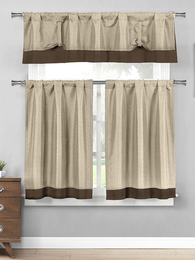 Home Maison Max Linen Look Tiers Kitchen Curtain Set (3 PC)