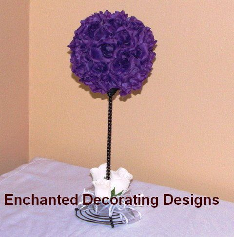 7in Pomander Ball Rope Topiary Wedding Flower Decoration Kissing Ball Centerpiece. $21,50, via Etsy.