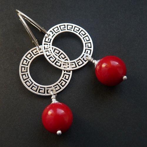 Kolczyki z koralem, #srebro pr. 925 #biżuteria #jewelry #earings #ohrringe  cudosfera.pl