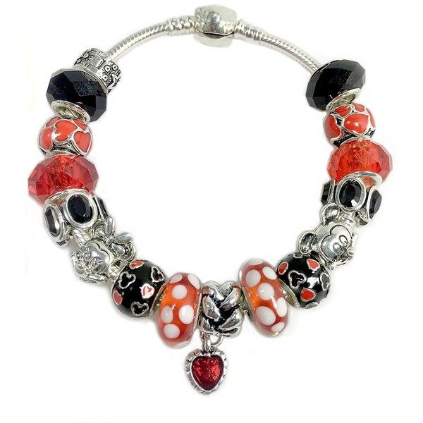Minnie Mickey Cartoon Mouse Bracelet Jewelry -Fits Pandora Disney... ($20) ❤ liked on Polyvore featuring jewelry, pendants, charm jewelry, beading jewelry, bead charms, mouse jewelry and disney
