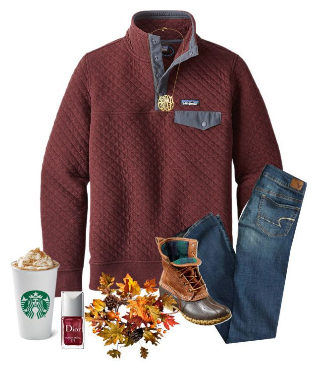 """""""Good for fall"""" by southerngirls19 ❤ liked on Polyvore featuring Patagonia, American Eagle Outfitters, L.L.Bean, Improvements and Christian Dior"""