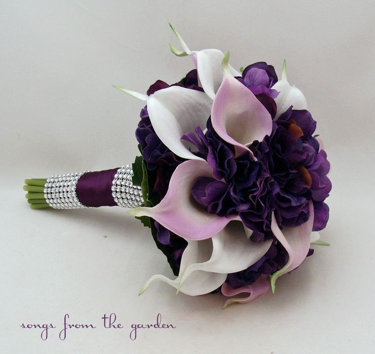 Calla Lily Hydrangea Bridesmaid Bouquet Lavender White Purple Real Touch Calla Lily Hydrangea Wedding Flower Bouquet by SongsFromTheGarden on Etsy https://www.etsy.com/listing/161247895/calla-lily-hydrangea-bridesmaid-bouquet