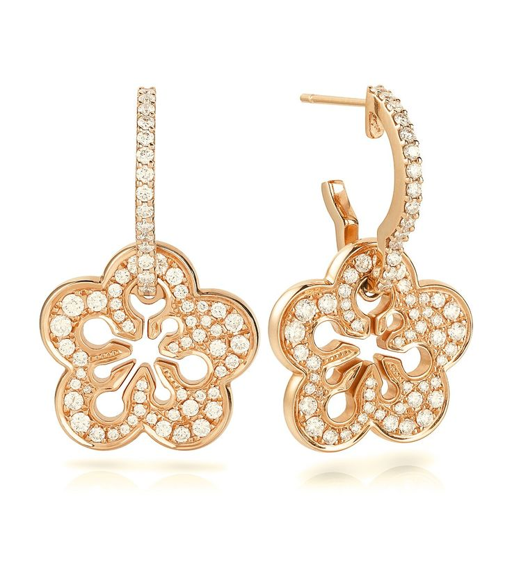 Signature Pave Blossom Earrings. A playful, elegant pair of drop earrings from Boodles' iconic Blossom collection, set with 1.02ct of round-brilliant cut diamonds in 18ct rose gold with post and butterfly fastening.