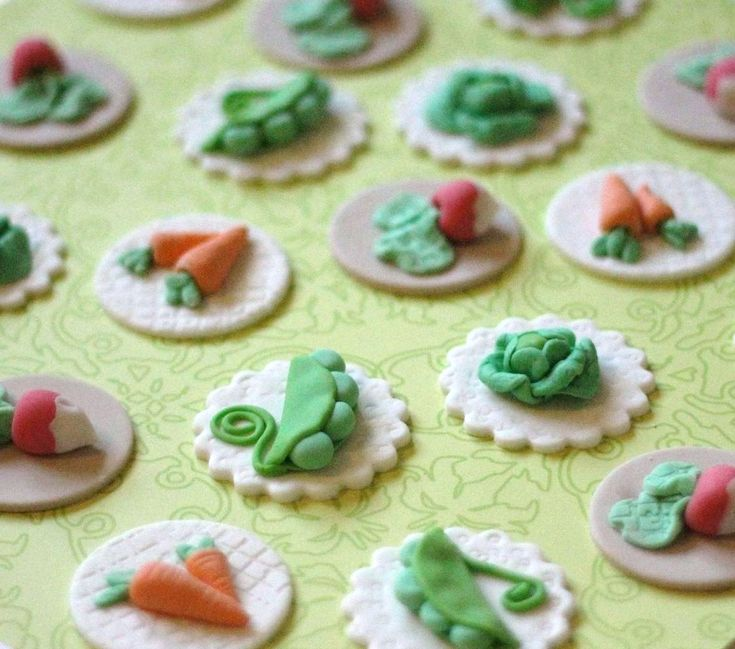 Whimsical Peter Rabbit Vegetable Garden Fondant Toppers - Perfect for Cookies, Cupcakes and Other Edible Treats. $21.99, via Etsy.