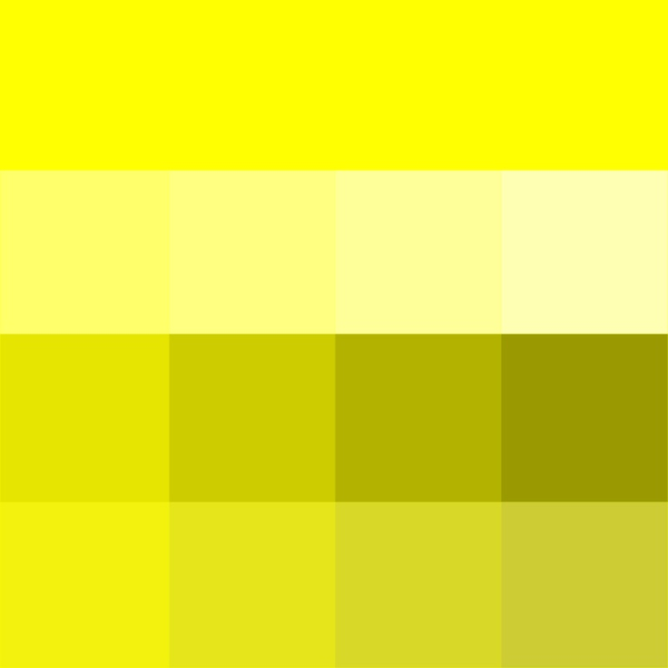 #Yellow Yellow Hue, Tints, Shades & Tones (Hue) ( pure color ) with Tints (hue + white), Shades (hue + black) and Tones (hue + grey, which desaturates the Hue)