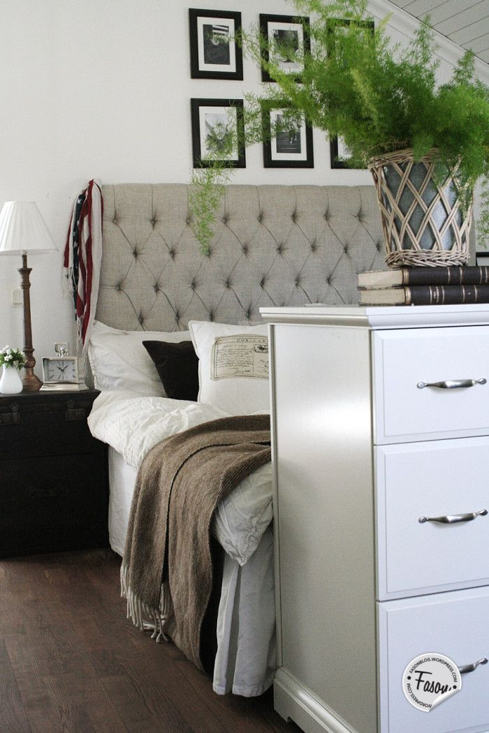 Headboard London from Artwood  I  Leather trunk nightstand  I  silver clock  I  dresser Birkeland Ikea  I  New England style